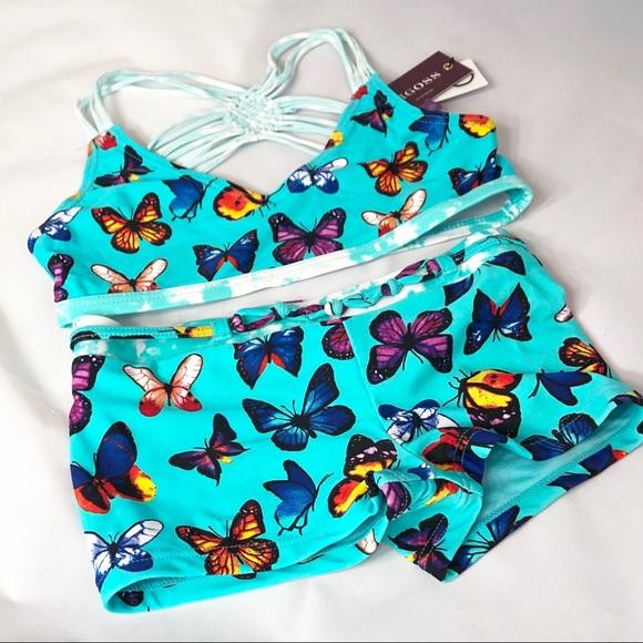 13fbca6fab Vigoss Swim | 2pc Kids Turquoise Butterfly Bathing Suit | Poshmark